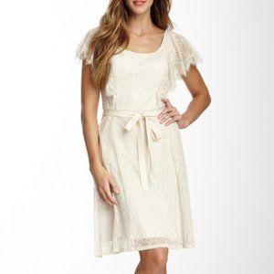 Adrianna Papell Almond Ruffle Sleeve Lace Dress